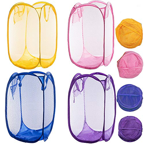 Qtopun Mesh Popup Laundry Hamper, 4 Pack Foldable Portable Dirty Clothes Basket for Bedroom, Kids Room, College Dormitory and Travel (Yellow,Pink, Purple,Dark Blue)