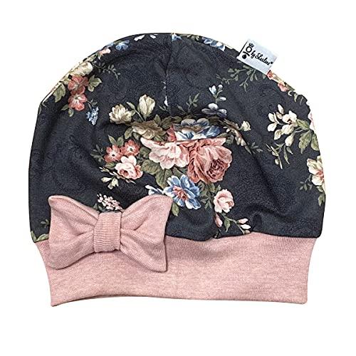 Sharlene Schleifenmütze - Grau Vintage Rosen - Rose Melange - Baby Mütze Beanie Mitwachsgrößen handgefertigt in Deutschland (50)