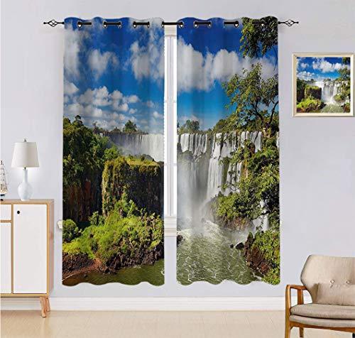 Americana Landscape Decor Cortina hecha a medida, majestuosa cascada río argentino cataratas paisajes naturales maravillas juego de 2 paneles, cada panel de 152 cm de ancho x 222 cm de largo