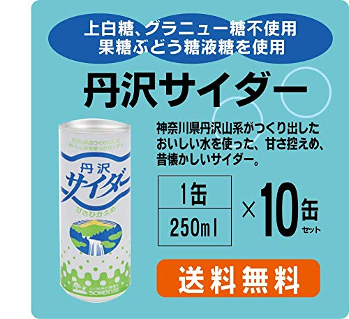 丹沢サイダー 250ml×10缶パック★甘さ控えめ:上白糖、グラニュー糖を一切使用せず、果糖ぶどう糖液糖を使用してすっきりとした甘さに仕上げています。★賞味期間:製造日より360日