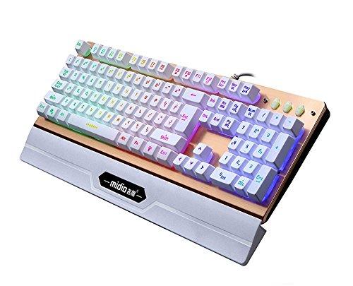 UrChoiceLtd® Midio RX-6 Handgelenkauflage mit Regenbogen-Hintergr&beleuchtung, beleuchtetes Kabel, USB, Multimedia, ergonomische Gaming-Tastatur für PC, Laptop, Computer