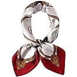 KAYINXLN 女性のスカーフのためのスクエアスカーフ美しいシルクスカーフ (色 : レッド, サイズ : 52cm*52cm)