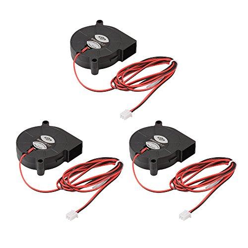 XCSOURCE 3pcs Brushless DC 12V 0.18A 5015 Ventilador de refrigeración Turbo Ventilador de Escape 50x15mm 2-Pin para Impresora 3D TE726
