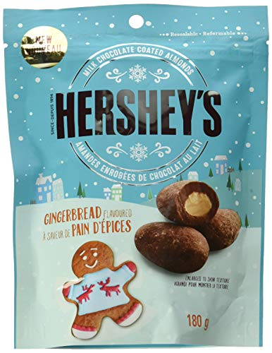 HERSHEY'S Christmas & Holiday Milk Chocolate Coated Almonds, Gingerbread Flavour, 180g Bag