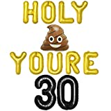 Holy Youre 30 Balloon Banner Funny 30th Birthday Decorations for Him 30 Year Old Fun Party Prank Ideas