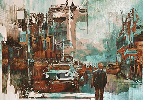 wandmotiv24 Fototapete Gemälde Brauntöne mit Mensch S 200 x 140cm - 4 Teile Fototapeten, Wandbild, Motivtapeten, Vlies-Tapeten Abstrakt Kunst M5981