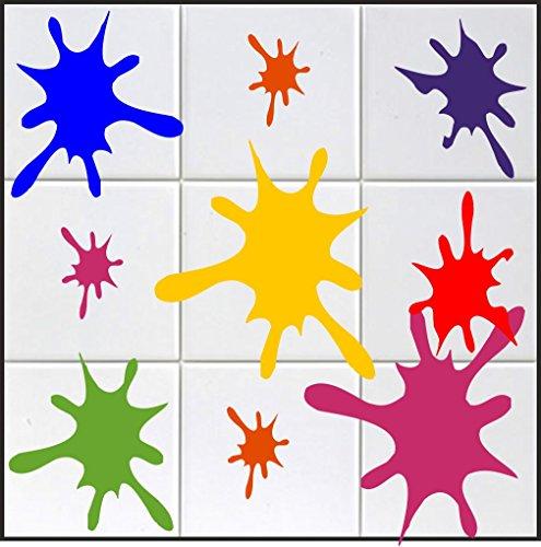 Pegatina Promotion S.L 10 x Farbklecks Aufkleber in s ca. 10 cm aus Hochleistungsfolie, für Fliesen, Autos, Wände, und alle glatten Flächen, BD WC Sticker Fliesebaufkleber viele Farben zur Auswahl