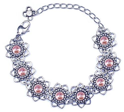 LUISIA® Armband Leandra mit Herzblüten und Kristallen von Swarovski® - Light Rosé/Rosa