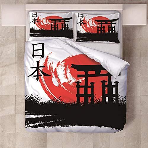 JKCloth Bettbezug Set mit 2 Kissenbezug 3D Japanische Eigenschaften Weiches Polyestergewebe Bettwäsche Cover Set 3 Stück Einzelbett Bettbezug - 140x200cm