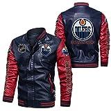 JesUsAvila Imitación cuero del bombardero chaqueta rompevientos Edmonton Oilers Racing tapa de la chaqueta de la locomotora de moda chaqueta de cuero de los hombres de Chaqueta/D / 2XL