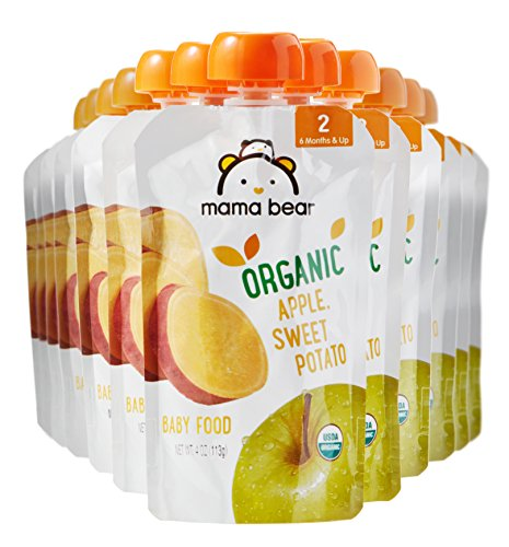 Amazon Brand - Mama Bear Organic Baby Food, Stage 2, Apple Sweet Potato, 4 Ounce Pouch (Pack of 12)