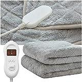 RUXMY Mantener Caliente Manta eléctrica, Funda de colchón con calefacción de Felpa para Cama  Manta de baño Lavable a máquina  Controles duales  Protección contra sobrecalentamiento  Forro Pol