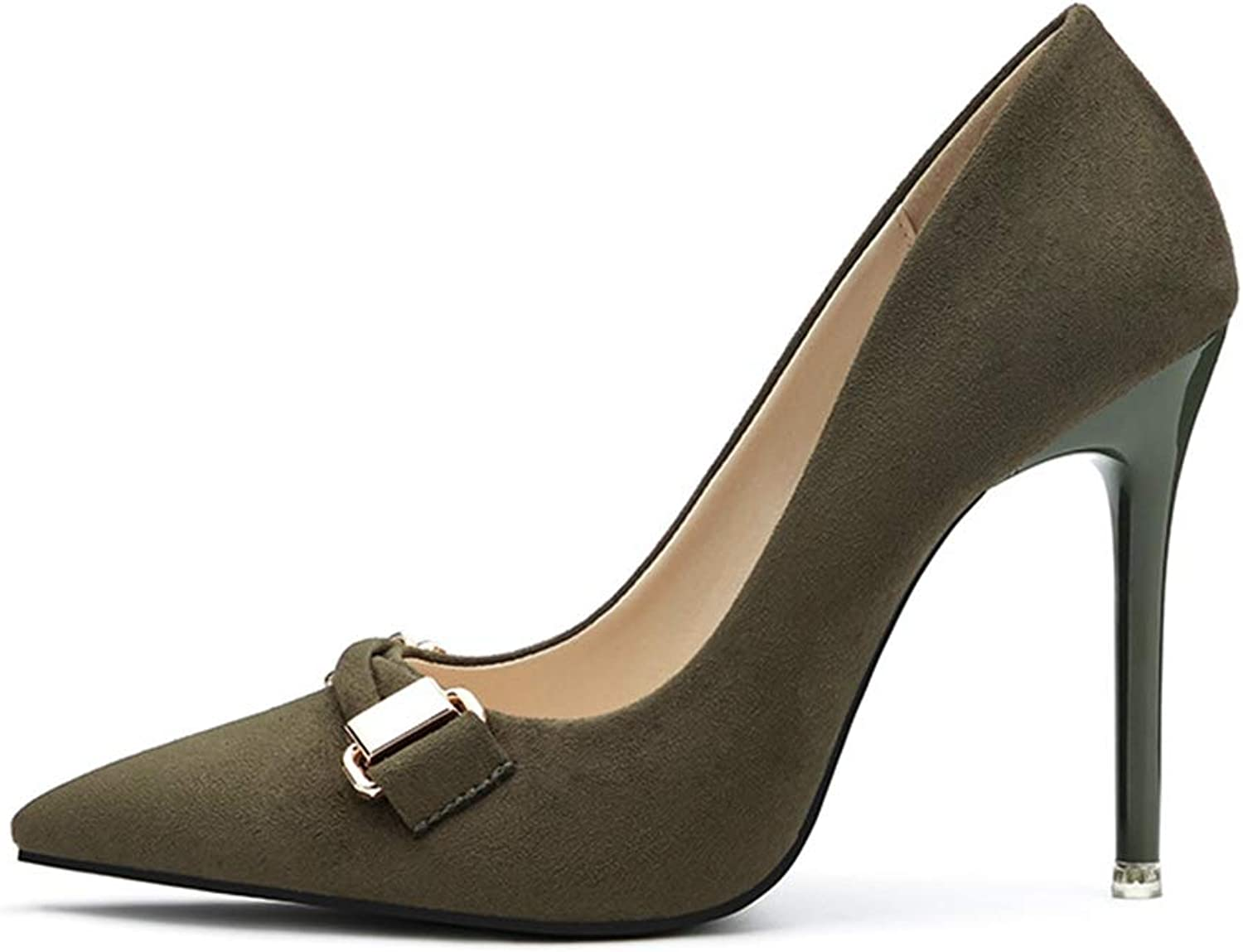 Drew Toby Women Pumps Pointed Toe Shallow Suede Solid color Fashion Elegant High Heels