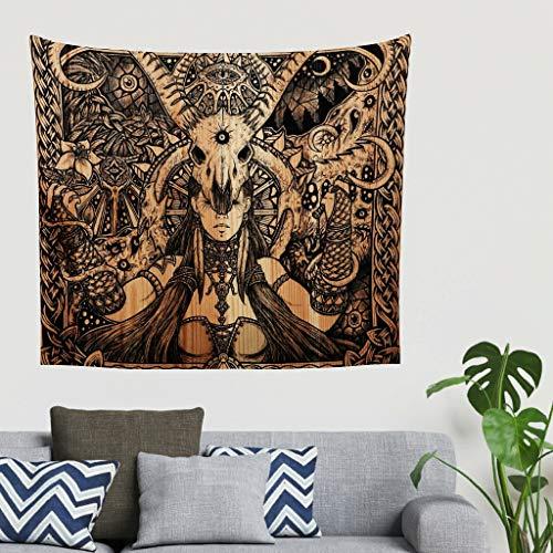 Bohemio Vintage Ethnisch Stammes Chica cabra cráneo ojo de la previsión de arte pared pared pared pared pared pared tapiz fantasía gobelin pared techo colcha cabecero paño de fondo 200x150cm blanco