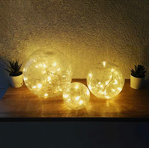 Dapo 3X Glas LED-Kugel-Leuchte-Lampe Fiona D: 10+15+20cm Weihnachts-Tisch-Fensterbank-Deko-Boden-Eingangs-Leuchte-Lampe