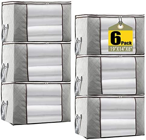 """JERIA 6-Pack Grey Foldable Closet Organizer Clothing Storage Bags with Clear Window, Reinforced Handle and Sturdy Zipper (Size: 19"""" L X 14"""" W X 8"""" H)"""