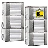 JERIA 6-Pack Grey Foldable Closet Organizer Clothing Storage Bags with Clear Window, Reinforced Handle and Sturdy Zipper (Grey)