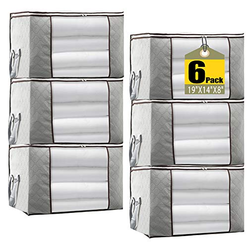JERIA 6-Pack Grey Foldable Closet Organizer Clothing Storage Bags with Clear Window, Reinforced Handle and Sturdy Zipper (Size: 19