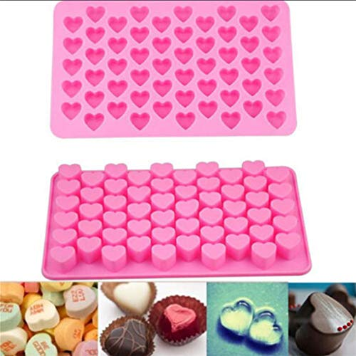 Kitchen Tools en gadgets Ice Tray schattige mini Heart Shape Silicone Cube Chocolade Baking Zeep Candy Mold Pink 18.5X11x1.3Cm taart maken Mousse Jelly,Pink