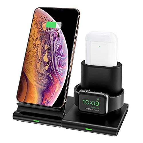 Hoidokly Cargador Inalámbrico, 3 en 1 Soporte de Carga para iPhone y Apple Watch, Base de Carga Rápida para iWatch 1/2/3/4/5, AirPods, iPhone SE/11/11 Pro MAX/XS MAX/XR/X(No Cable de Carga del iWatch)