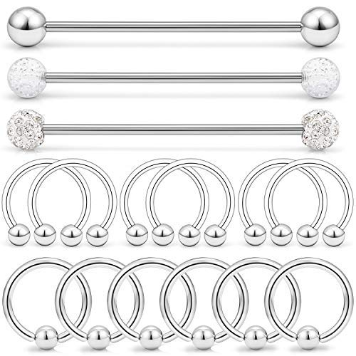 LAURITAMI 15stk Industrial Piercing Bars Set 1,6 mm 38 mm Barbell chirurgisch staal met cartilage Helix Hoop Ring Zilver Ear Piercing