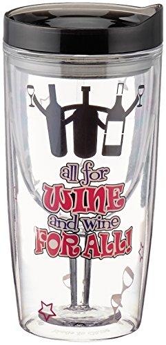 "Zees Inc Vingo Ac1124""All For Wine Wine For All"" Wine Tumbler, 10 Oz, Multicolor"