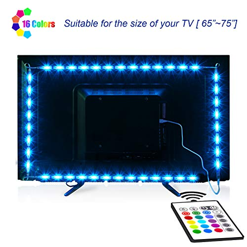 TV-LED-Backlight,Maylit Pre-Cut 14.3ft LED Strip Lights for 65-75in TV,4PCS USB Powered TV Lights kit with Remote,RGB Bias Lighting for Room Decor