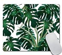 ジャングルマウスパッド、熱帯のヤシの葉の緑の茂みとモンステラマウスパッドノンスリップラバーゲームマウスパッドコンピューターラップトップ用長方形マウスパッド
