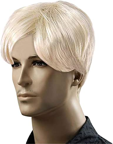 Amazon Com Blonde Short Wigs For Men Blonde Man Wig Mens Short Hair Wig Male Blonde Wig Gold Clothing