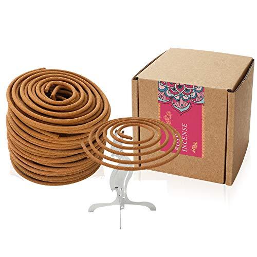 Coils Incense Floral Fragrance Rose Spiral Incense for Home Decoration Holder Incense Burner(Rose Incense)