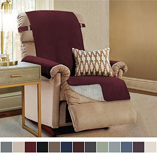 Gorilla Grip Original Slip Resistant Recliner Protector for Seat Width up to 26 Inch, Patent Pending Suede-Like Furniture Slipcover, 2 Inch Straps, Reclining Chair Slip Cover Throw for Dogs, Merlot