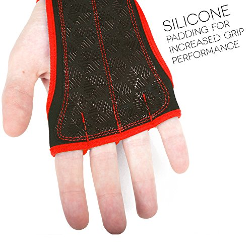 Workout Gloves Wrist Wrap Best Workout Gloves for Weight Lifting, Gym Workouts Red XS