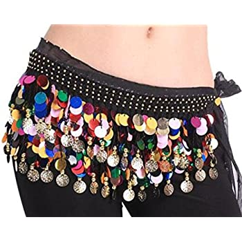 Buy Vritraz Women S Chiffon Belly Dance Hip Scarf Waistband Belt Skirt Red And Golden Color Beads Red 56 Online At Low Prices In India Amazon In