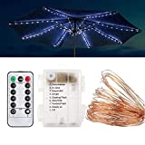 HEYLULU Luces de sombrilla de Patio, Luces de Cadena de sombrilla inalámbrica con Control Remoto, luz LED para Paraguas, iluminación Impermeable