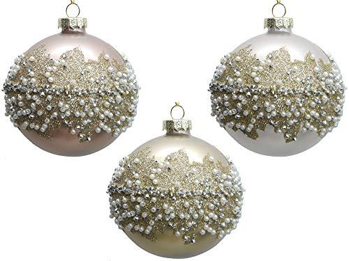 Werner Voss 3er Set Weihnachtsbaumkugeln Baumkugeln Glas 8 cm Rosa Weiß Gold mit Strass und Glimmer Christbaumkugeln - Weihnachtsschmuck-Christbaumschmuck edel Anhänger 8 cm
