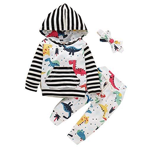 puseky Infantile bébé garçons Filles Costume de Dinosaure rayé Shirt à Capuche + Pantalon + Bandeau vêtements Ensemble