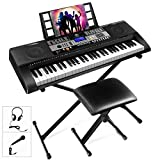 ♪. Electric Keyboard Piano kit complete with headphone,microphone,music sheet stand, keyboard adjustable stand and bench,. It is easy-to-use and versatile enough for everyone from entry level to pro. ♬. 61 full size weighted sensitive keys which coul...