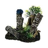 Balacoo Decoración de Pecera Vista de Montaña Estatuas de Moai Ornamento de Escondite Adorno de Peces de Acuario Casa de Árbol Cueva Decoración de Pecera