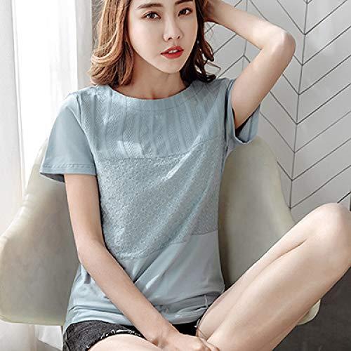 ktynskmx Manga cortaBordado Floral Camiseta Mujer Camiseta algodón Verano Mujer Tops 2020 Camiseta Mujer Ropa Camisetas, Azul, XXXL
