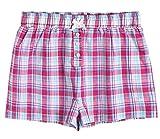 Latuza Women's Sleepwear Cotton Plaid Pajama Boxer Shorts S Pink