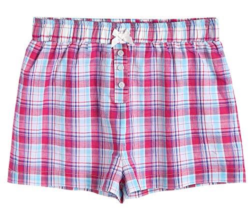 Latuza Damen Nachtwäsche Baumwolle Plaid Pyjama Boxershorts - Pink - Large
