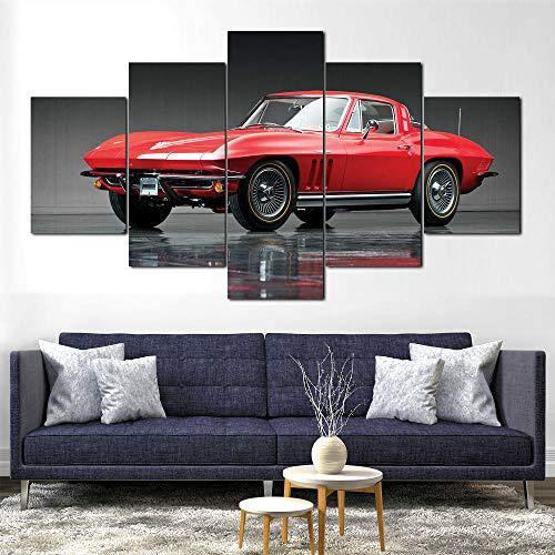 SHENQI-Cuadros Modernos Impresión De Imagen Artística Digitalizada | Póster 1965 Corvette Car...