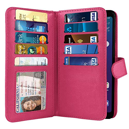 NEXTKIN Case Compatible with LG Stylo 5, Leather Dual Wallet Folio TPU Cover, 2 Large Pockets Double Flap, Multi Card Slots Snap Button Strap for LG Stylo 5 - Hot Pink