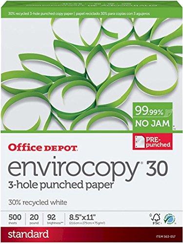 Office Depot EnviroCopy papel de impresora láser de inyección de tinta de 3 agujeros, 30 %...