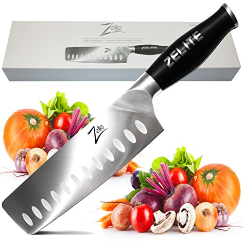 Zelite Infinity Nakiri Chef Knife 7 Inch - Comfort-Pro Series - German High Carbon Stainless Steel - Razor Sharp, Granton Edge, Super Comfortable