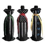 Juego de 3 fundas para botella de vino Trump vintage, bandera de Estados Unidos, decoración de mesa, decoración de mesa para fiestas de Navidad, cena, regalo