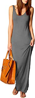 TYQQU Damen Kleid Sexykleid Ärmellos Maxilangkleid Sommerkleid Slim Fit Abendkleid Rundhals S-3XL