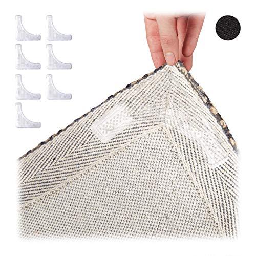 Relaxdays Teppichgreifer 8er Set, klebende Teppichstopper, Anti-Rutsch, waschbar, wiederverwendbar, Teppich, transparent