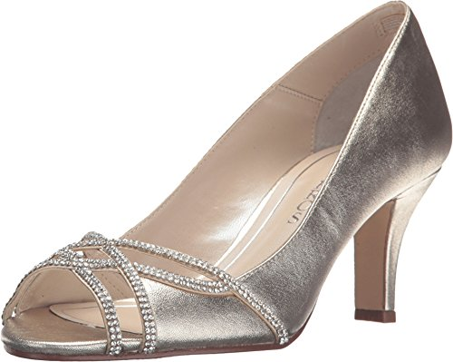 Caparros Womens Eliza Leather Peep Toe Classic Pumps, Gold, Size 9.5