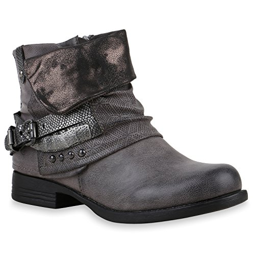 Damen Stiefeletten Biker Boots Schnallen Nieten Knöchelhohe Stiefel Leder-Optik Schuhe 120530 Dunkelgrau 39 Flandell